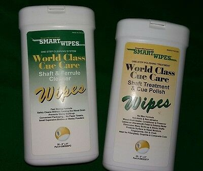 Smart wipes pool snooker cue cleaning & polishing system one step wipes NEW x 40