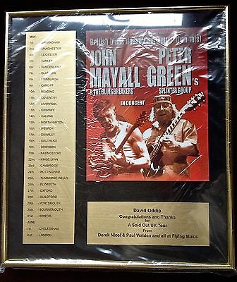 Rare Peter Green of Fleetwood Mac & John Mayall  Gold Presentation Award