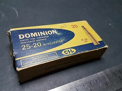 Vintage Dominion Ammo Box, Winchester 25-20 Empty Vintage Ammunition Box
