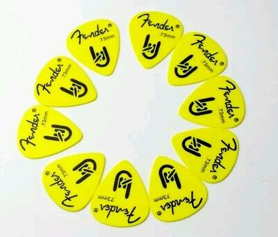 12 Plettri chitarra basso picks Fender Rock On Yellow Medium 0.73mm Derlin