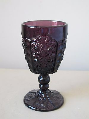 "L.G. Wright Daisy & Button Purple Amethyst Water Goblet 6"" Vintage Glass"