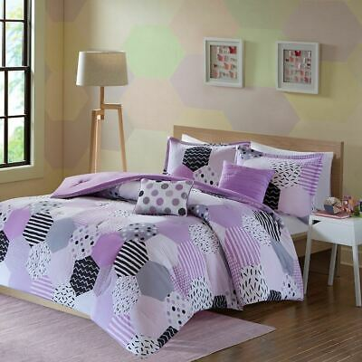 Girls Purple Grey & White Geo Shapes Comforter Set AND Decorative Pillows
