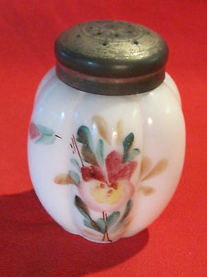 Victorian hand painted milk glass shaker with floral pansy flower design
