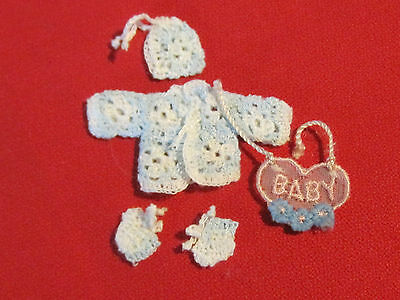 1:12 scale dollhouse miniature crocheted baby outfit for dollhouse nursery