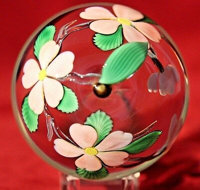 LARGE Charming ORIENT & FLUME Pink APPLE Blossoms Glass PAPERWEIGHT by Braley