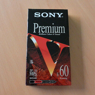 SONY VHS E60VF Premium Recording Tape New Blank Sealed Rare Cinta Video