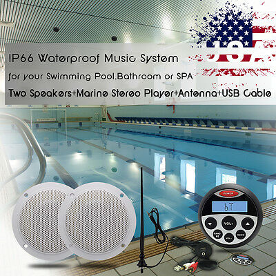"Waterproof Bluetoot Player Car Boat Stereo+4""White Speakers+Antenna+USB Cable"