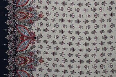Ethnic Floral Print Double Border Cotton Lawn Dress Fabric Material
