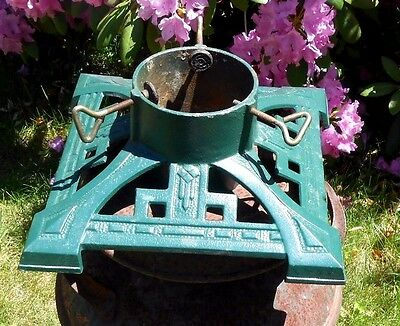 Vintage Ornate Green Cast Iron Christmas Tree Stand Heavy Duty Art Deco Style
