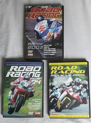 3 IRISH ROAD RACING REVIEW DVD'S  03, 04 & 05 Ulster Manx Cookstown Tandragee