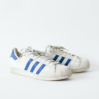 True Vintage 90's Adidas Superstar Trainers Laced White Leather Men's UK 8.5