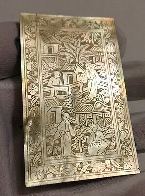 Rare Antique Beautifully Carved Mother of Pearl Piece/Lid/Panel Chinese Scene