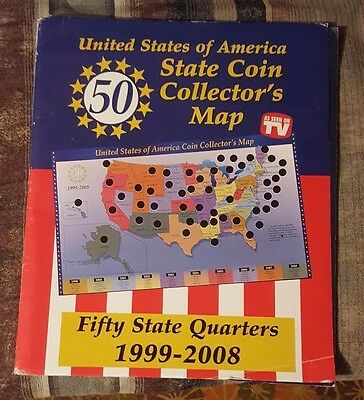 United States Of America State Coin Collectors Map 1999-08 With Quarters