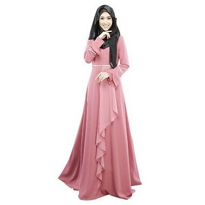 Pink Women Long Sleeve Islamic Abaya Jilbab Kaftan Solid Long Maxi Dress Size M