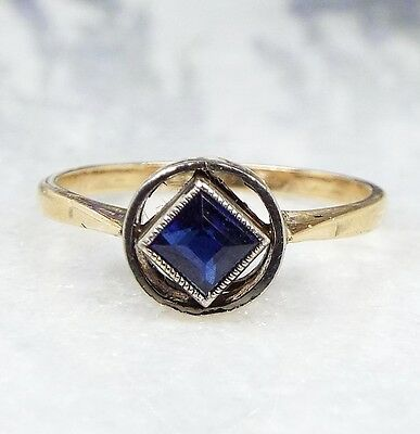 Vintage 1920's 9ct Gold Art Deco Floating Diamond Blue Sapphire Ring / Size L