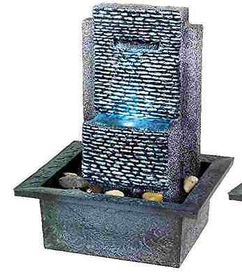 Indoor Table Water Fountain Feature with LEDs - Ripple Rock Wall Design