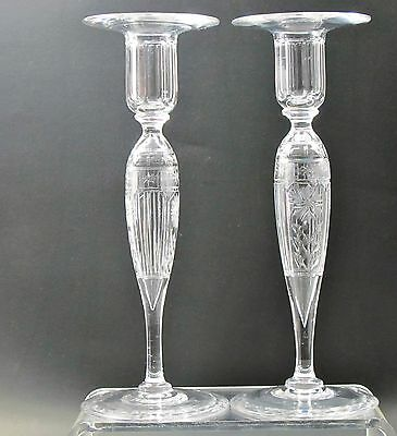 HAND Cut glass candle sticks Pair Crystal, floral  Made in USA