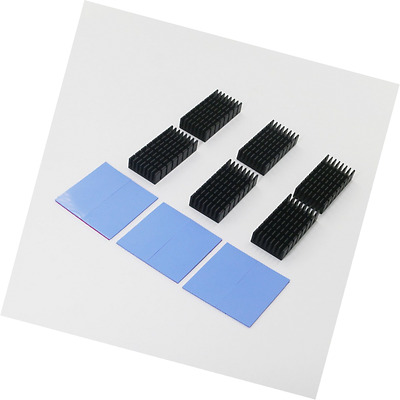 BNTECHGO 6 Pcs 50mm x 25mm x 10mm Black Aluminum Heatsink Cooling Fin + 6 Pcs 50