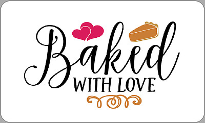 21 X Baked With Love Labels Gift Homemade Produce Stickers Cakes Bread Sellers