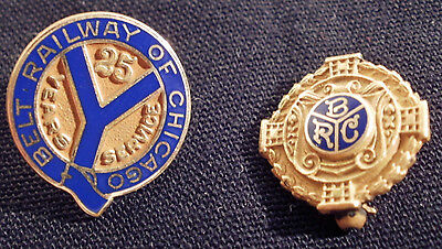 Lot of 2 10K Gold Belt railway of chicago service pins