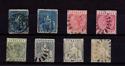 Stamps  ~ BARBADOS 1800s Victorian CLASSICS ~ Nice Postmarks USED