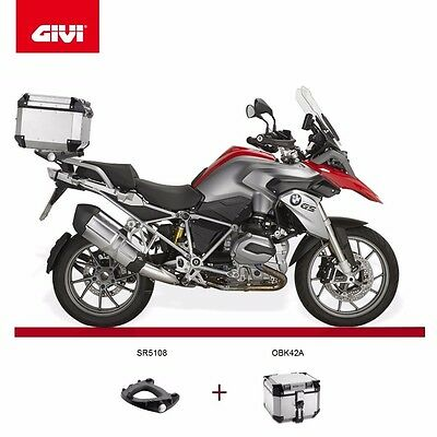 Bmw R1200GS 2014 GIVI SR5108 RACK + TREKKER OUTBACK OBK42A TOP BOX CASE Monokey