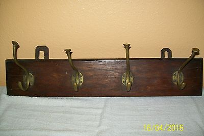 "Early 1900,s Wall Coat and Hat Rack Brass Hangers 21"" X  4 1/2""Mahogany"
