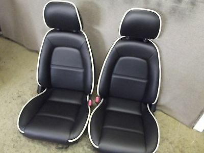 Mazda Mx5 Mk2 seats recovered  in black leather with white piping