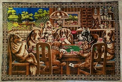"Vintage LARGE 69.5"" x 46.5"" Dogs Playing Poker Wall Tapestry Rug Man Cave Bar"