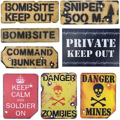 Military Wooden Wall Sign Bombsite Sniper Keep Out Mines Kids Army Den Bedroom