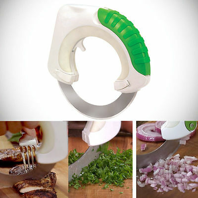 Rolling Circular Knife Stainless Steel Vegetable Food Cutter Slicer Kitchen 360°