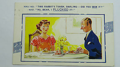 1958 Bamforth Vintage Comic Postcard No 364 Newly Weds Cooking 1950s Marriage