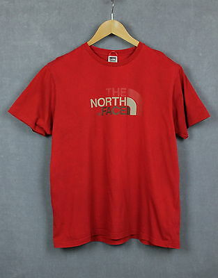 THE NORTH FACE Men's Crew Neck Short Sleeve Red Cotton T-Shirt [SIZE LARGE]