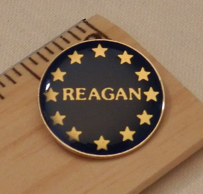 Reagan Lapel Pin Beautiful Dark Blue Gold Stars Excellent Condition Ships FREE
