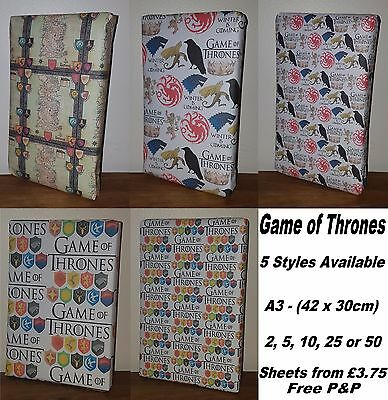 GAME OF THRONES Wrapping Paper - Westeros Map, Winter is Coming, birthday party