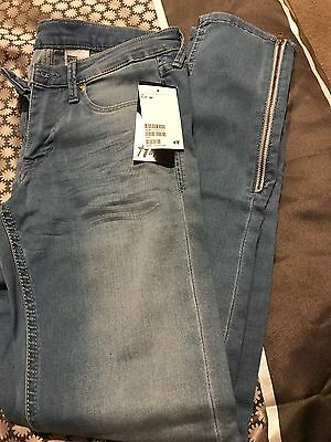 H&M Blue Super Skinny Jeans With Side Zip