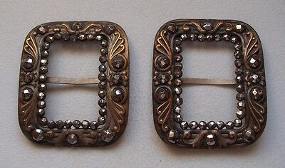 A Pair Of Repousse Georgian Buckles Set With Stones
