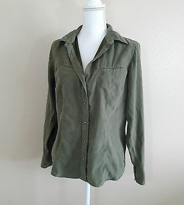 Columbia Women's Olive Green Suede Snap Button Down Jacket Top Size M