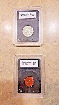 Novelty U.S. Coins 1 Washington Quarter & 1 Lincoln Penny Heads on Both Sides