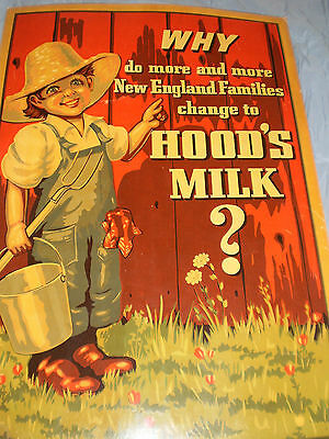 BIG 1950s Hood's Milk Dairy Farm Boy Advertising Store Sign New England RARE 40s