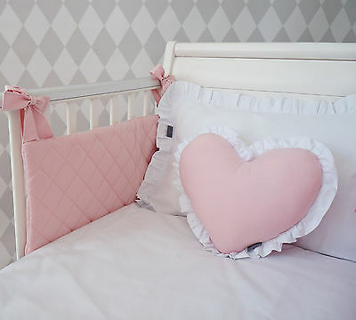 EXCLUSIVE LUXURY BABY GIRL BEDDING SET - white & powder pink; for cot & cot bed