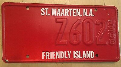 "1988 St Maarten N A  Friendly Island License Plate "" Z 602 ""  Rare!  Unfinished"