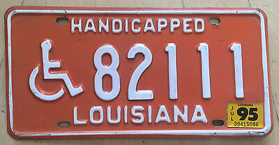 "Louisiana 1995 Handicapped Disabled Person License Plate "" 82111 "" La Wheelchair"