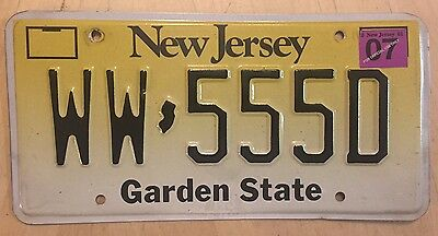 "New Jersey Repeating Number Passenger Auto License Plate "" Ww 555 D "" Nj 2007"