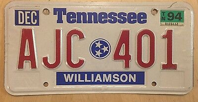 "Tennessee 1994 Passenger  3 Stars  License Plate "" Ajc 401 ""  Williamson County"
