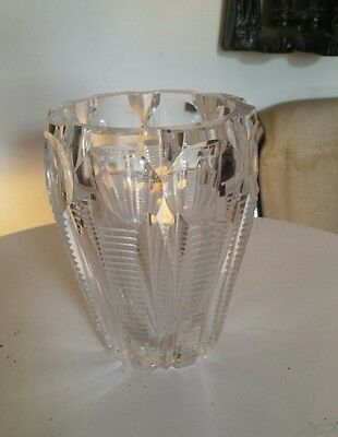 Vintage Crystal Glass Vase High Quality Piece Heavy