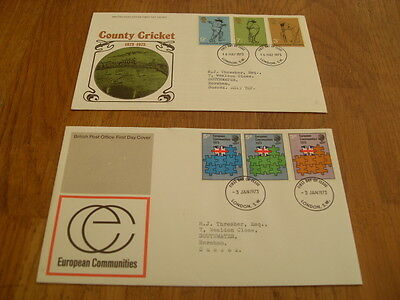 England  F-D Covers- European Communities 1973 / County Cricket 1973