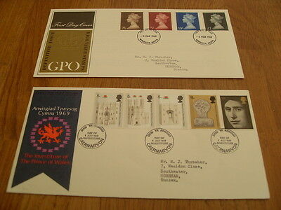 England  F-D Covers- Gpo Definitive 1969 / Investiture Of Prince Charles 1969