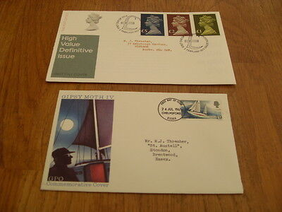 England  F-D Covers- High Value Difinitive 1977 / Gipsy Moth Iv 1967
