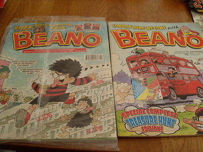 THE BEANO COMIC 2 ISSUES NO 3025 + gift  / 3153 + premier league sticker book